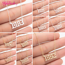 Hfarich Collares de Moda 2019 Custom Jewelry Special Date Year Number Necklace for Women 1980 to Old English