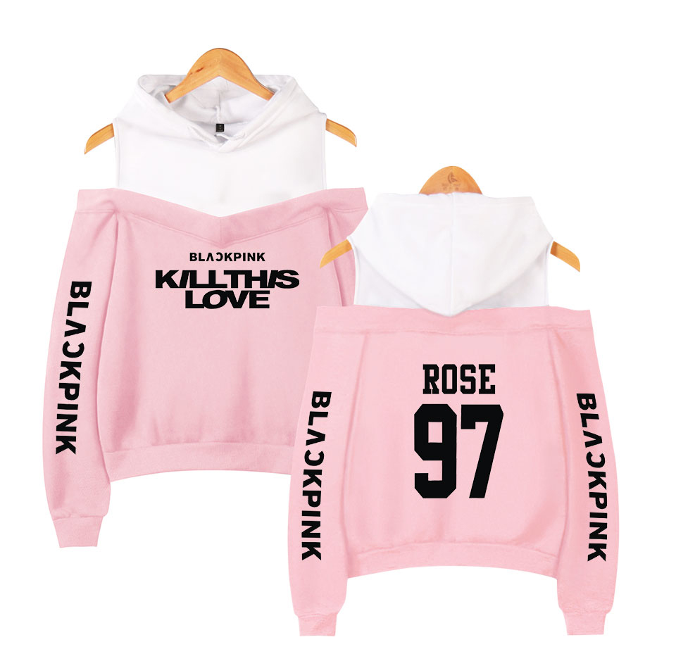 Harajuku Women Sweatshirt Kpop Blackpink Hoodies For Teenage Girls Pullover Pink Clothing Autumn Warm Female Streetwear Clothes