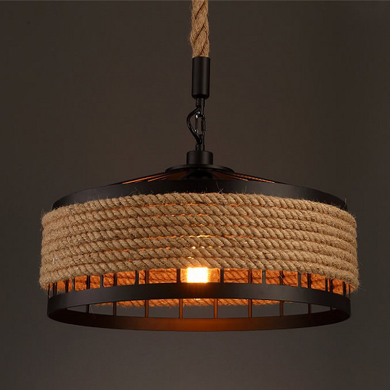 Vintage Industrial Hemp Rope Hanging Lamp Bar Restaurant Round Chandelier Decorative Night Light (Not Included Bulb)