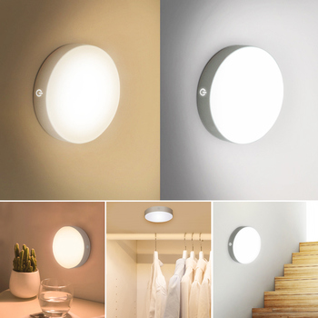6 LEDs PIR Sensor de movimiento luz de noche Auto On/Off para dormitorio escaleras armario inalámbrico USB recargable lámpara de pared