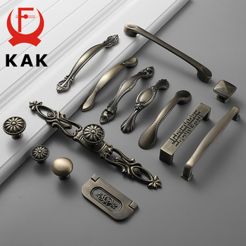 KAK Green Bronze Cabinet Knobs and Handles Vintage Antique Kitchen Handle Wardrobe Door Pull Furniture Handle Cabinet Hardware 10pcs lot solid european classic bronze handle knob pull kitchen furniture wardrobe cabinet