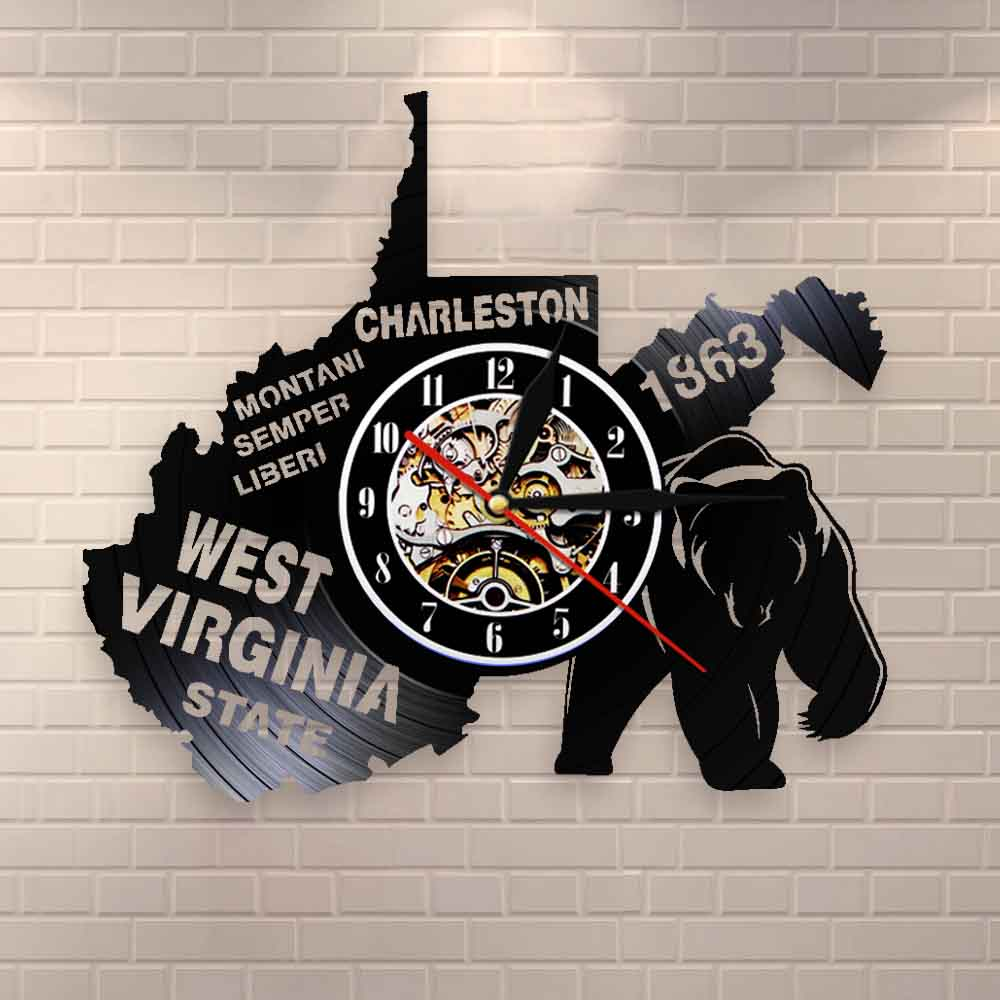 The Great Seal Of The State Of West Virginia Wall Clock USA State Map Charleston Montaini Semper Liberi Vinyl Record Wall Clock