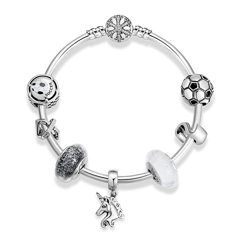 925 Sterling Silver Letter S Unicorn Murano Glass Beads Women Bangles Original Silver 925 Finished Bangles Femme DIY Jewelry - 2