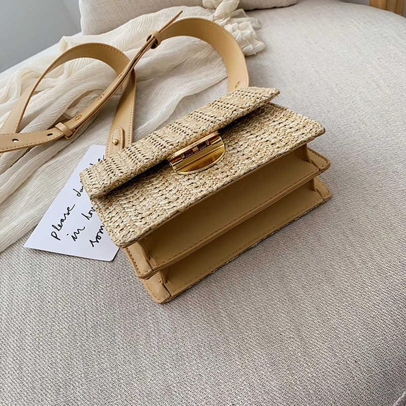 נשים קיץ קש באלי שקיות כיכר אבזם קש תיק בעבודת יד ארוג חוף Crossbody שקיות בוהמיה נצרים תיק אופנה תיקים