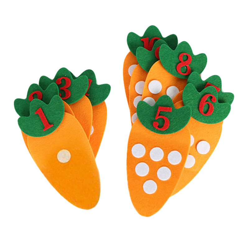 1-10 Montessori Educational Toy Non-woven Children's Puzzle Handmade DIY Creative Toy Kindergarten Carrot Match Digital Teaching