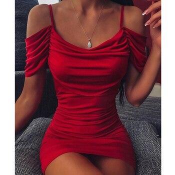 Sexy Women Off Shoulder Ruched Bodycon Dress Short Sleeve Red Mini Female 2020 Summer Nightclub Party Vestidos