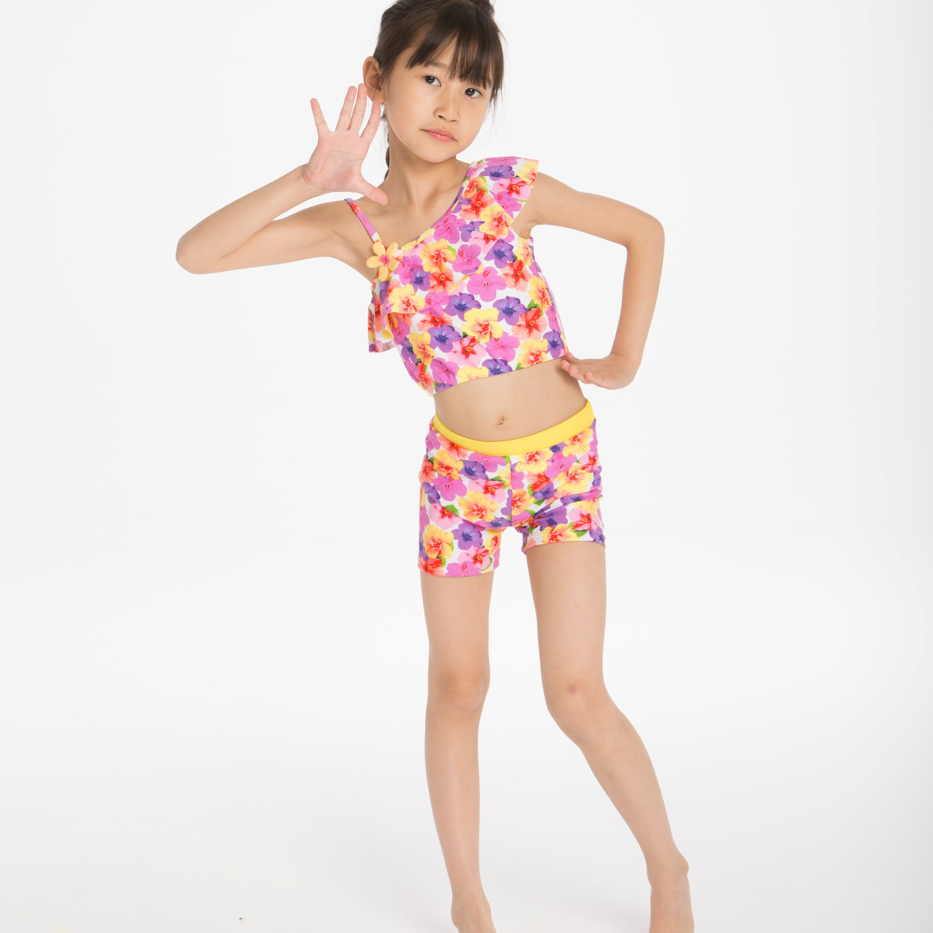 New Style Children Two-piece Swimsuits Pink Flower Split Type Girls CHILDREN'S Swimwear Special Offer A Generation Of Fat