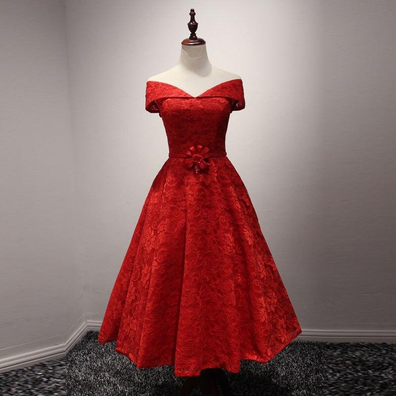 Tanpell Elegant   Cocktail     Dress   Off the Shoulder Lace AppliquesTea Length A Line Party   Dress   Cheap vestido de noiva