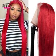 Цветной красный Синтетические волосы на кружеве парик прозрачный