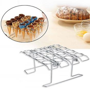 ice cream cone holder with 3 barrels one set of icecream cone holder ice cream machine spare parts accessories Stainless Steel Ice Cream Cone Display Rack Stand Diy Ice Cream Cone Holders Baking Cake Cone Cupcake Cooling Tray Rack Holder