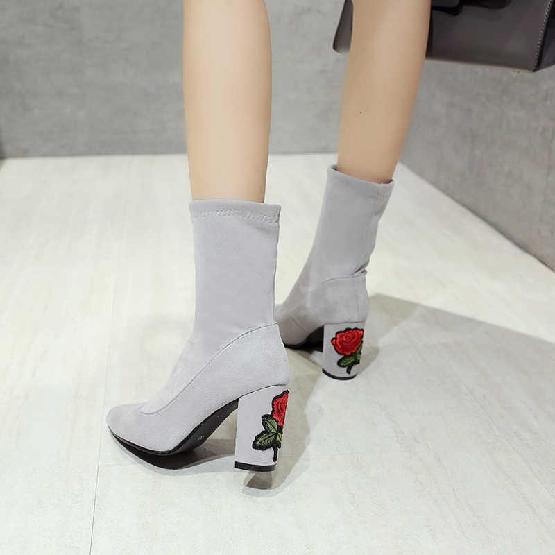 MEMUNIA 2020 yeni yarım çizmeler kadın akın yüksek topuklu ayakkabılar sonbahar kış çizmeler zarif nakış bayanlar balo çizmeler büyük boy