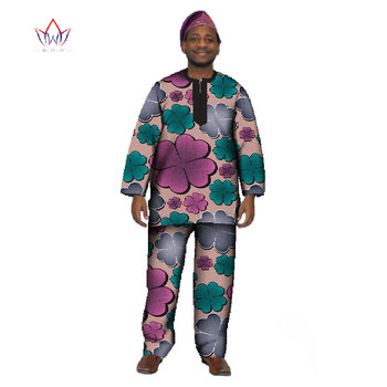 Traditional Mens African Clothing Casual Long Sleeve O neck Man Tees Slim Fit and Dashiki Men Trousers Plus Size M-6XL WYN16