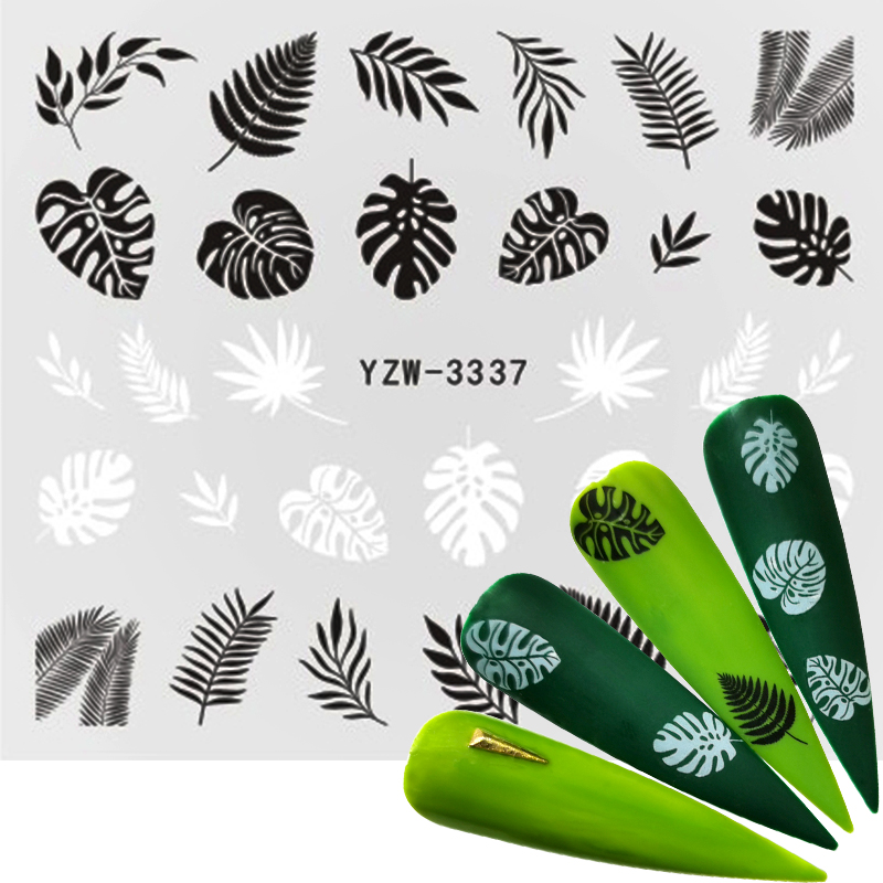 FWC 2020 1 PC Black/White Leaf Nail Sticker Flower Water Transfer Decal Slider Nail Art Decoration For Manicure Wraps Foils Tips