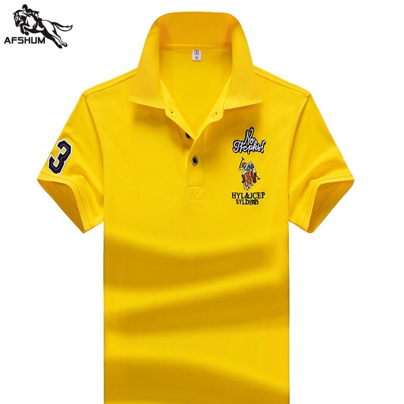 Summer Brand Men Short Sleeve Horse Polos Shirt Casual Male Cotton Collar Polos Shirt Fashion Good Quality Men's Slim Tops 1733