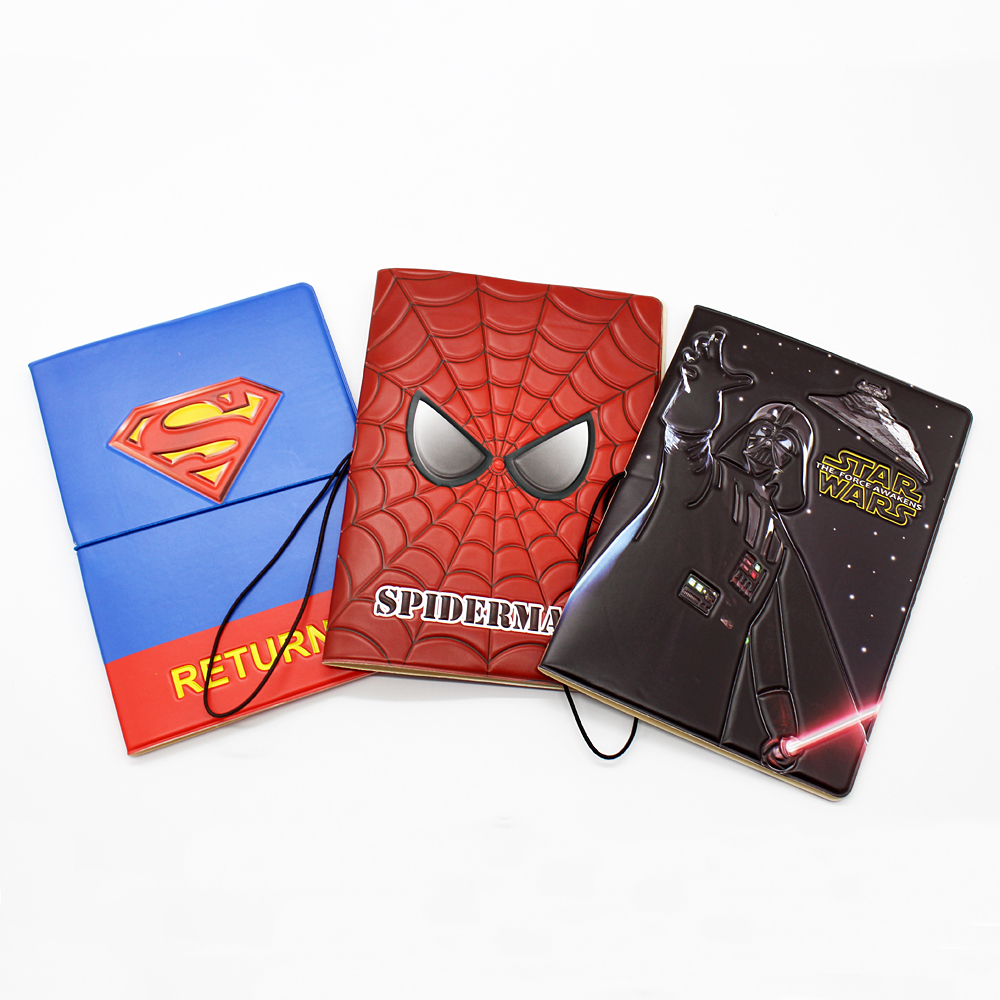 High Quality 3D Embossed Patterns Spider Man Passport Cover Travel Soft Leather Id Card Passport Holder Superman Passport Wallet