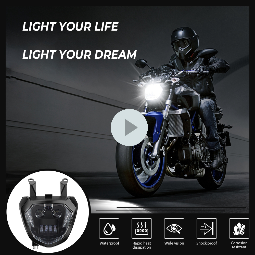 For YAMAHA MT07 Headlight FZ07 2014 2015 2016 2017 LED Headlight Lamp MT-07 FZ-07 DRL Motorcycle Headlight MT 07 FZ 07 110W 12V