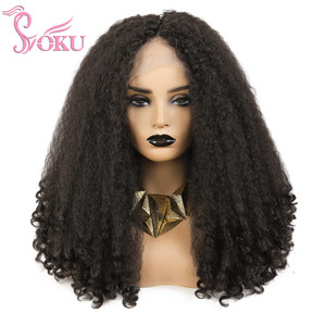 SOKU Синтетические афро парики фронта шнурка средняя часть парик кудрявые яки прямые 20 дюймов длинные пушистые волосы парик для африканских ...