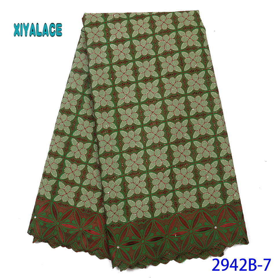 Latest Color African Lace Fabric With Beads 2019 High Quality French Tulle Lace Swiss Lace Fabric For Woman Dress YA2942B-7