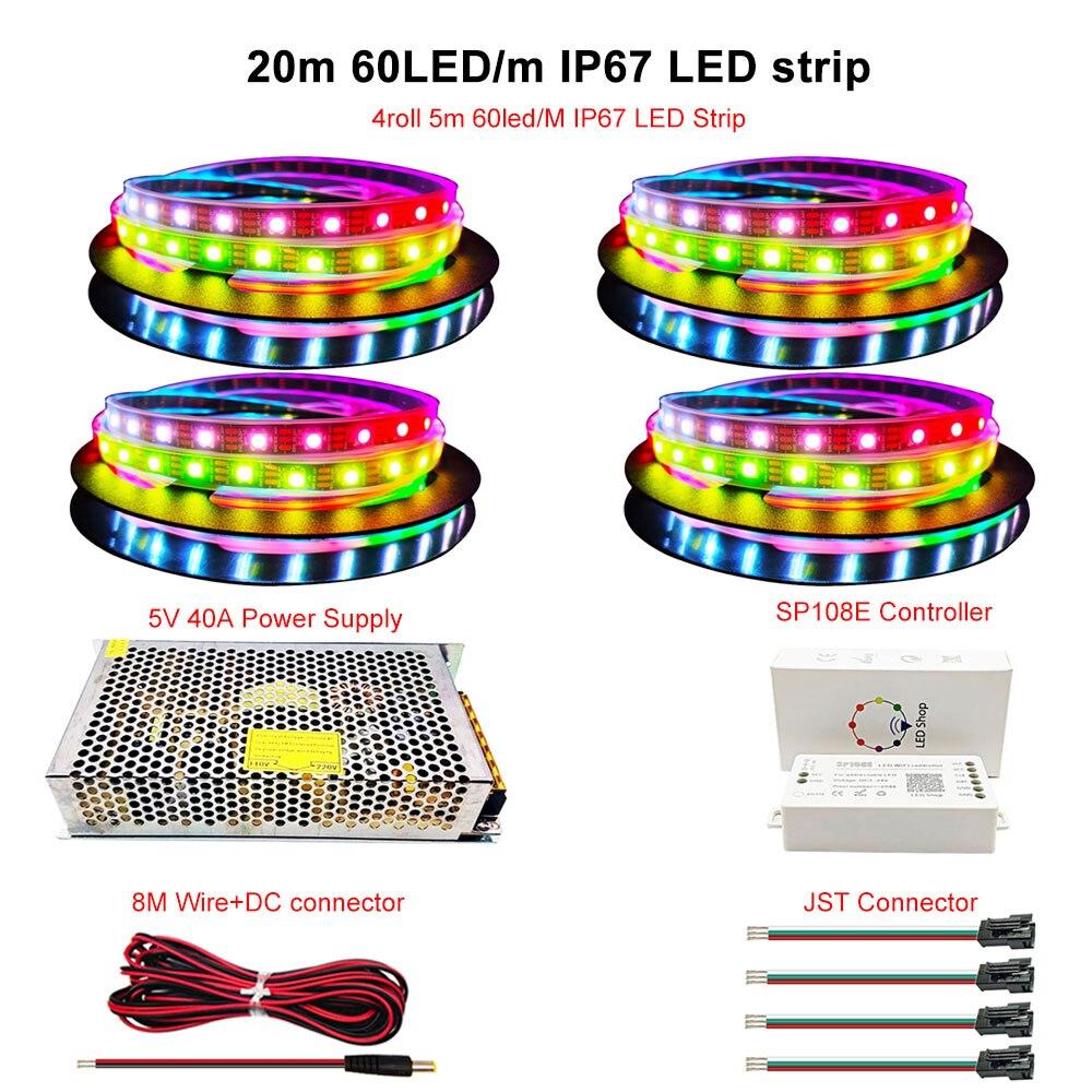 WS2812B WS2812 IndividuaIIy AddressabIe RGB Led Strip Light 20m Kit DC5V Led Transformer Power SuppIy SP108E Wifi ControIIer