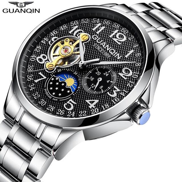 GUANQIN 2020 relojes para hombre, automático, de negocios, Tourbillon, resistente al agua, mecánico, masculino
