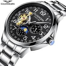 Guanqin 2020 relógios masculinos marca superior luxo negócio relógio automático tourbillon à prova dwaterproof água relógio mecânico relogio masculino