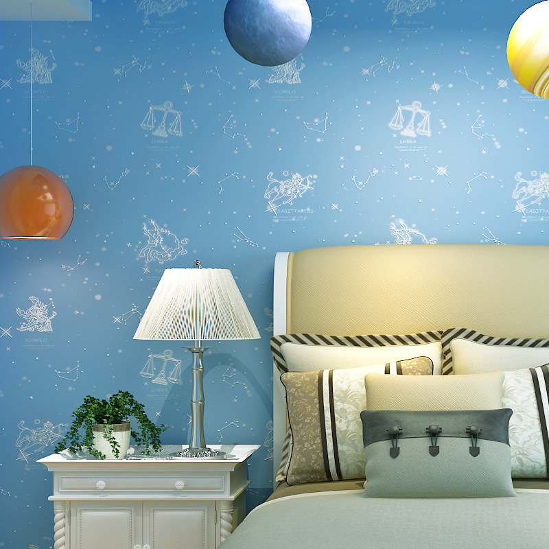 New Products Cartoon Environmentally Friendly Nonwoven Fabric CHILDREN'S Room Wallpaper Warm Blue Pink Boys And Girls Bedroom Co