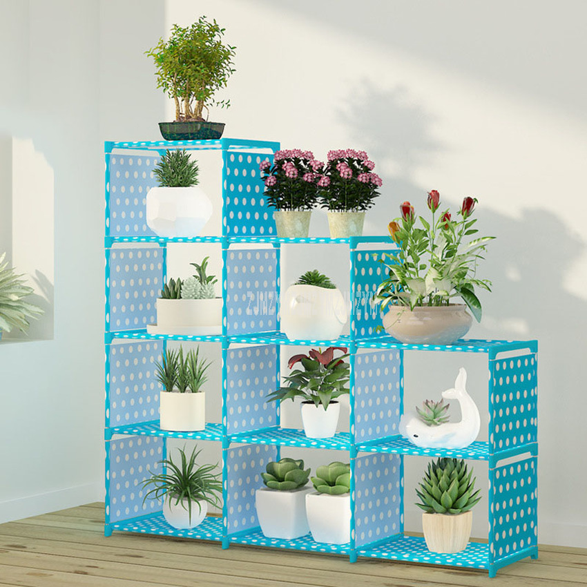 Multi-layer Foldable Plant Flower Pot Stand Shelve Free Combination Flower Display Rack Shelf Indoor Non-woven Fabric Steel Pipe