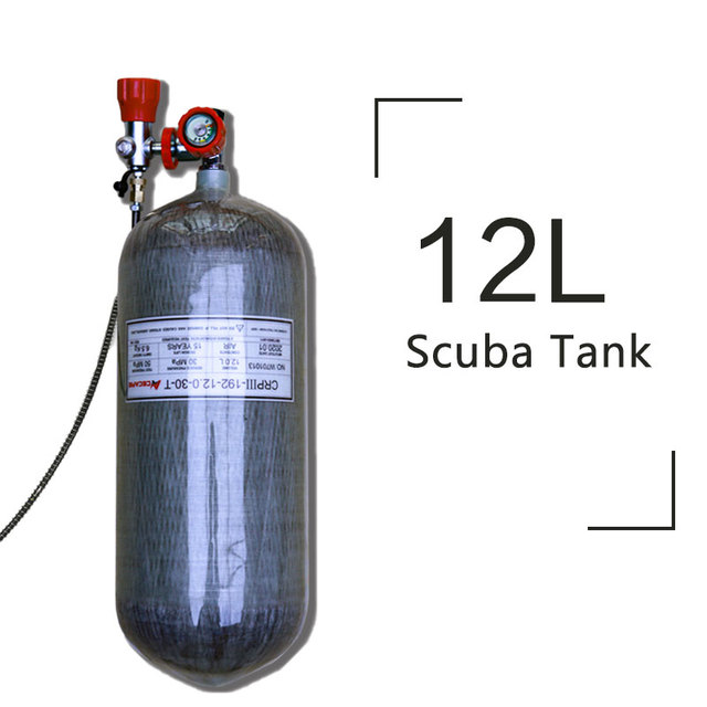 Acecare 12L Scuba Diving Tank Pcp Air Tank Carbon Fiber Cylinder for Diving HPA 4500Psi 300bar M18*1.5 Valve / Protection Cover