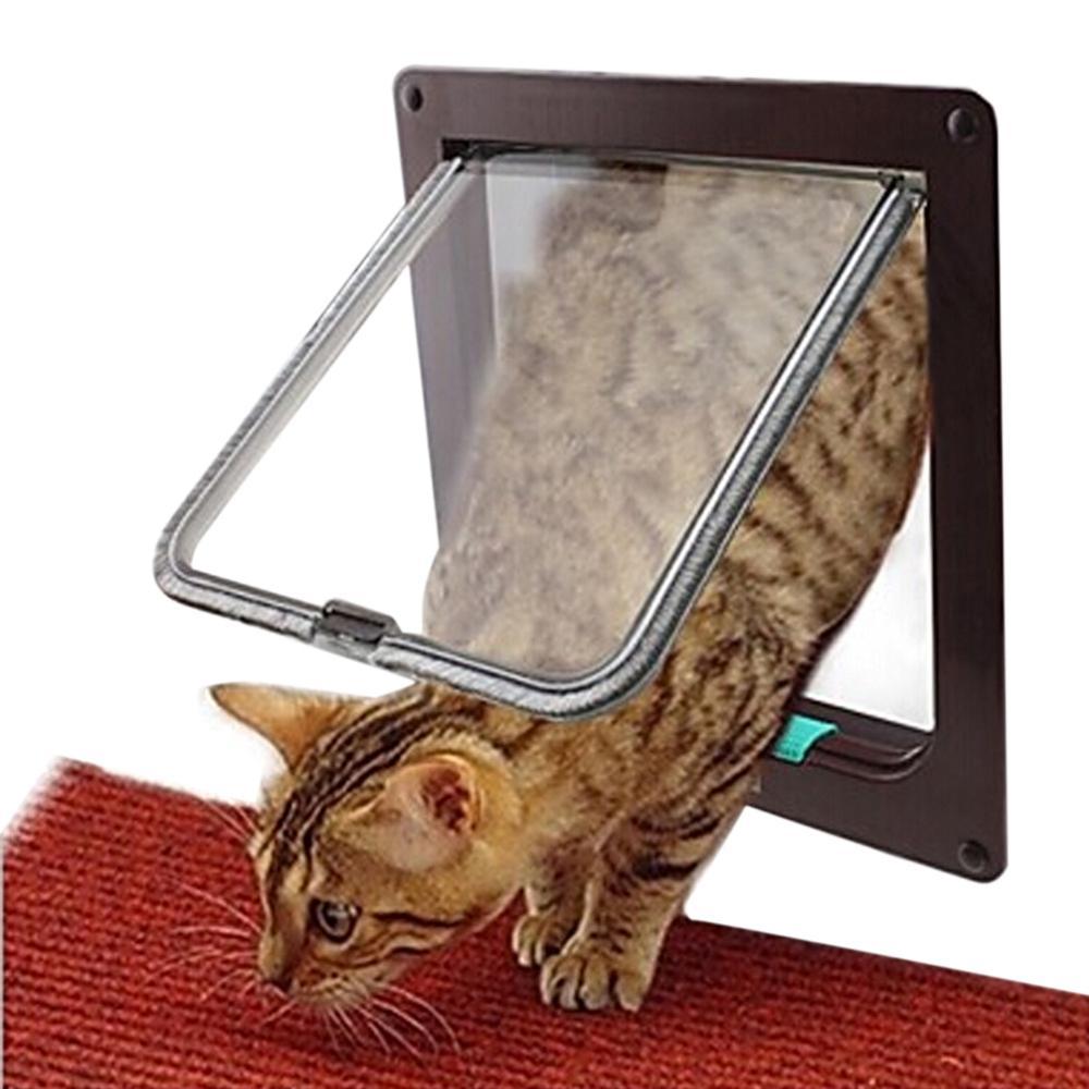 Coffee 4 Ways Lockable Dog Cat Kitten Door Security Flap Door ABS Plastic Animal Small Pet Cat Dog Gate Pet Supplies Dropship