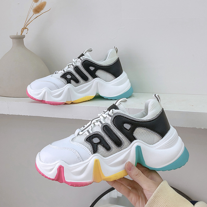 2020 Women Designer Sneakers Women Vulcanized Shoes Basket Femme Casual Sport Shoes Woman Espadrilles Lace-up Chunky Sneaker
