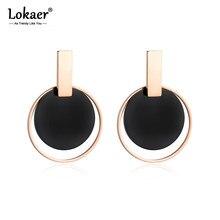Lokaer gran disco negro y rosa círculo dorado Pendientes exageración joyas de acero inoxidable Pendientes para Mujer de Moda E18089