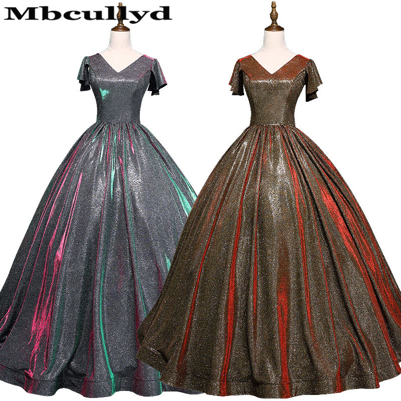 Mbcullyd V-neck Ball Gown   Prom     Dresses   2019 Sparkling Sequined Formal Long   Dress   Evening Pageant Plus Size Vestidos De Gala
