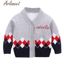 ARLONEET bawełniany płaszcz noworodek dziewczęcy sweter dzianinowy list drukuj przycisk odzież wierzchnia guzik dla niemowląt odzież wierzchnia 2019 kurtka zimowa dla chłopców tanie tanio Moda COTTON Pasuje prawda na wymiar weź swój normalny rozmiar Suknem Unisex V-neck Pełna REGULAR down jacket for girl