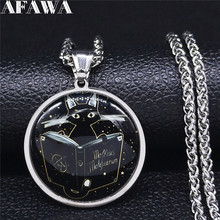 2021 New Magic Book Cat Stainless Steel Necklaces for Women Silver Color Long Statement Necklace Jewelry collana uomo NJ40S02