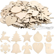 120 Pieces Unfinished Wooden Ornaments Christmas Wood Hanging Embellishments Crafts for DIY, Decorat
