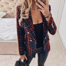 Misswim Elegant tweed red plaid blazer women Autumn winter double-breasted blaze