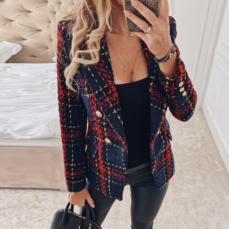 Misswim Elegant Tweed Red Plaid Blazer Women Autumn Winter Double-breasted Blazer Coat Female Fashion Office Ladies Outwear New