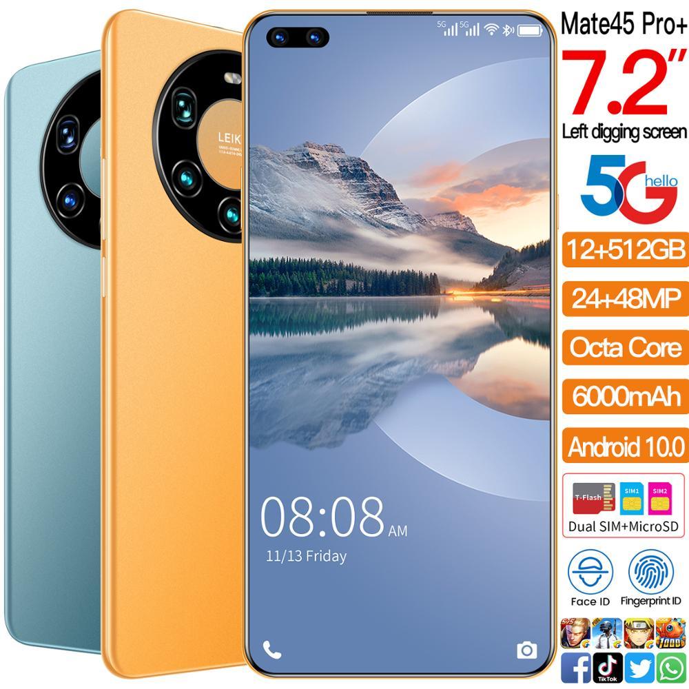 7.2 Inch Full Screen HUAWE Mate45 Pro+ Smartphone Octa Core 5000mAh 8GB 256GB 4G LTE 5G Network Mobile Phone Global Version