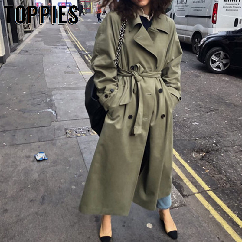 Verde do Exército do vintage de Grandes Dimensões Longo Trench Coat Senhoras Blusão Triplo Breasted Casaco Queda 2019 Mulheres Outwear