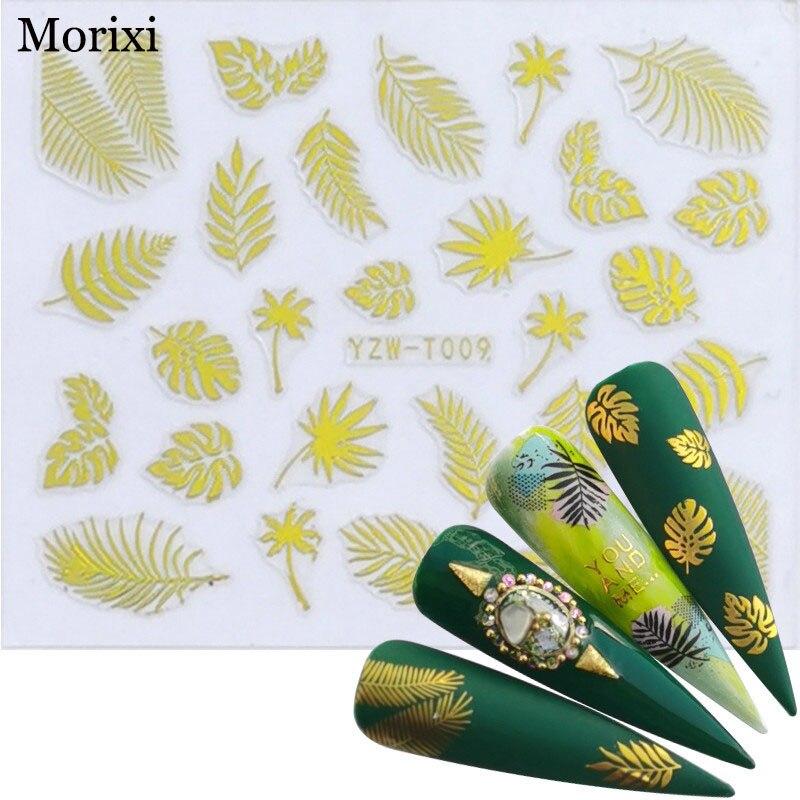 Купить morixi золотая наклейка для дизайна ногтей волнистые вкладыши