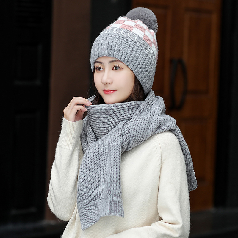 Fashion Winter Hat And Scarf Set For Women Thick Wool Kitted Pom Poms Ball Hats Scarves Winter Warm Bonnet Beanie Caps For Girl