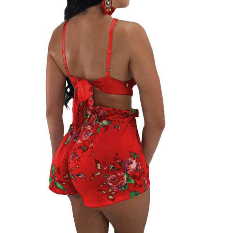 Сексуальный женский цветочный 2 шт облегающий укороченный топ брюки бюстгальтер набор клубный комбинезон
