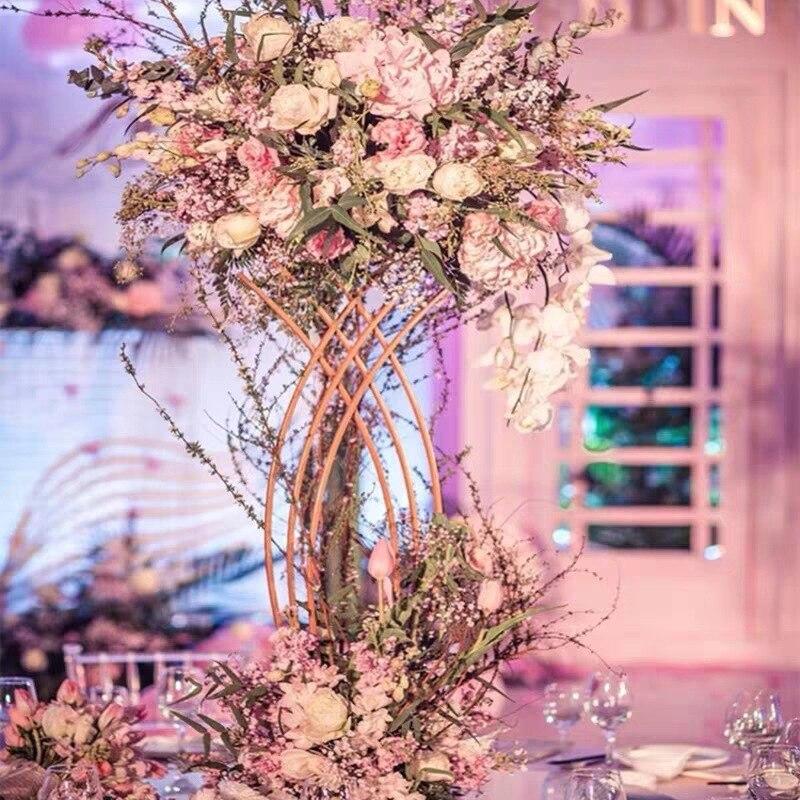 4 PCS  Flower Vase  Floor Vases Column Stand Metal Road Lead Wedding Centerpiece Geometric Pot Table Rack For Home Event Decor