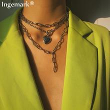 Панк кубинское ожерелье-чокер с воротником в стиле стимпанк Любовь Сердце Lasso большое массивное ожерелье из железной цепи для женщин праздничные украшения