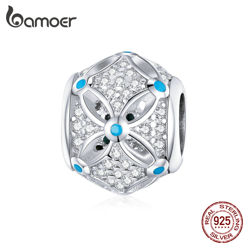 Bamoer Easter Series 925 Sterling Silver Round Beads Vintage Flower Charm Fit Original Bracelet Bangle Fashion Jewelry BSC222