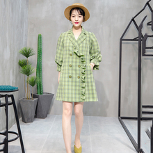 Green Plaid Coat Women 2019 New Autumn Trench Loose Temperament Coats Lantern sleeve Windbreaker Coat Female Outerwear AN219