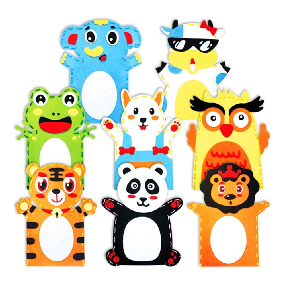5Pcs Kid DIY Cartoon Animal Hand Puppet Handmade Sewing Crafts Educational Toy