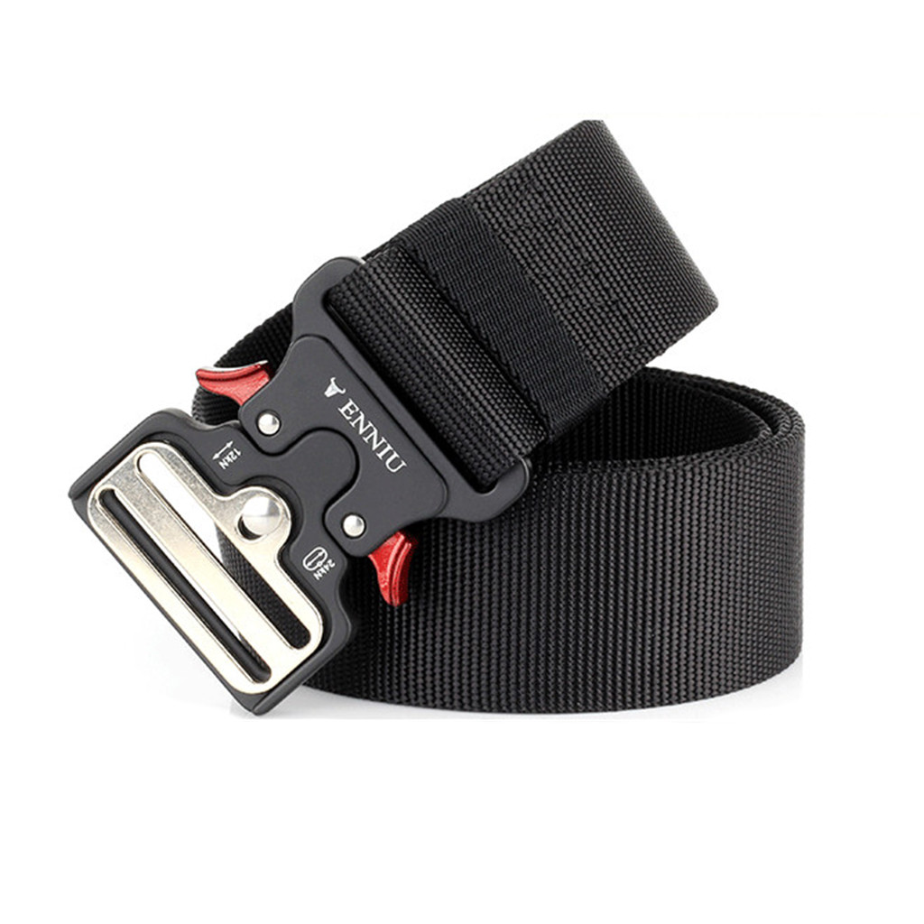 Men's Belt Outdoor Hunting Tactical Training Belt High Quality Black Canvas Alloy Metal Buckle Easy To Take Off