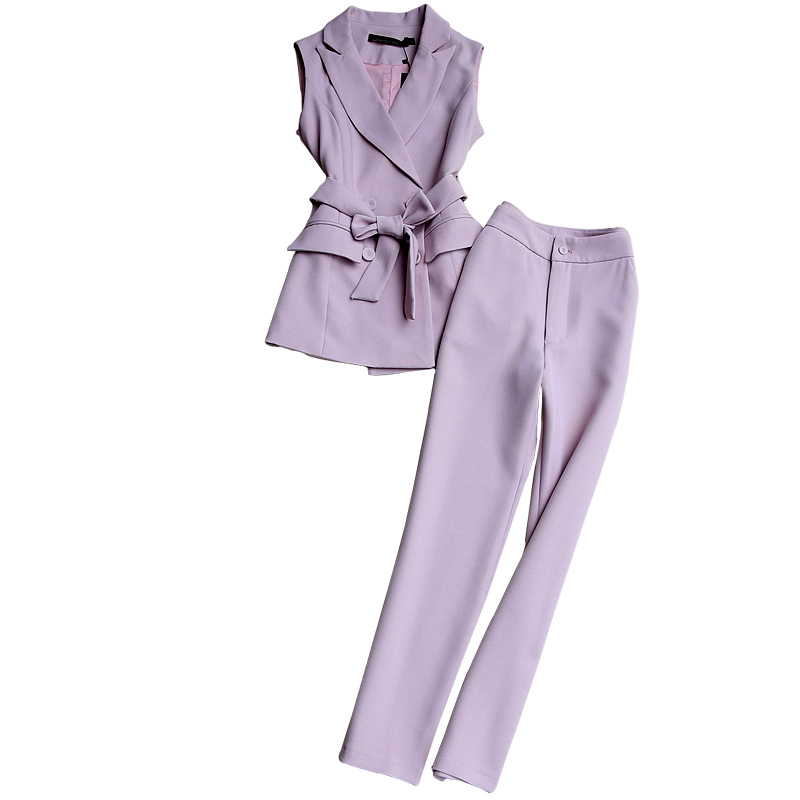 Fashion Suit Spring And Autumn New Ol Temperament Slim Female Sleeveless Suit Vest Pencil Pants Ankle Length Two-piece