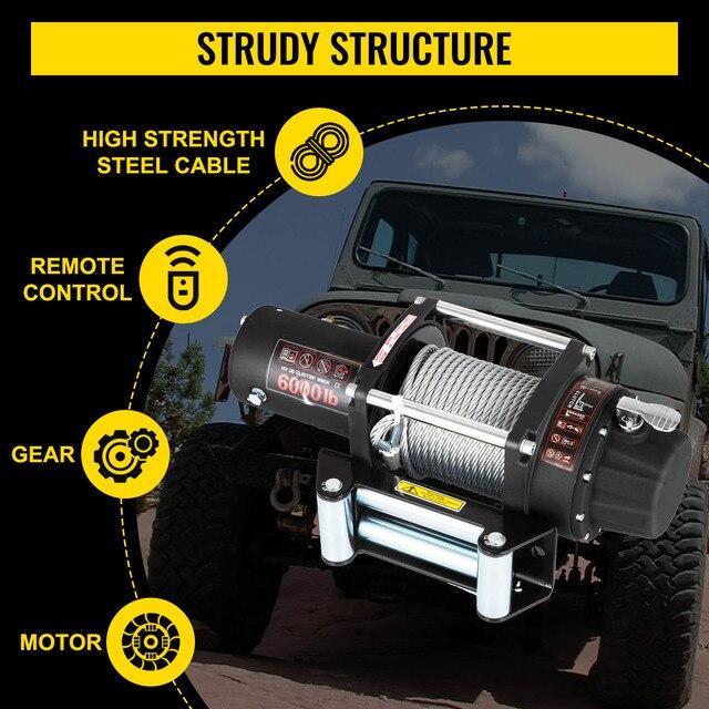 treuil électrique avec câble en acier solide, VEVOR – commande sans fil pour ATV SUV, bateau, camion, remorque, treuil de récupération hors route, 6000LBS/2721KG 3